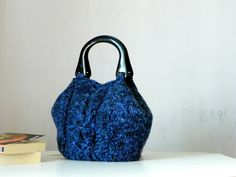 Maglieria Tote, donne moda autunno toni, Knit tote, borsa, tonalità blu verde teal - autunno idea Bag, idea regalo Natale regali di Natale
