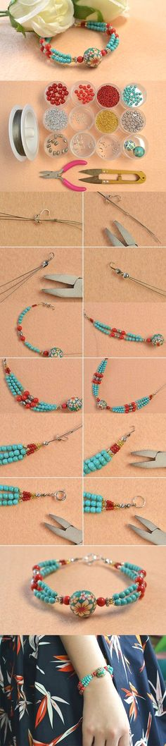 Handmade Ethnic Beaded Bracelet with Turquoise Beads                                                                                                                                                                                 More  #JewelryIdeas