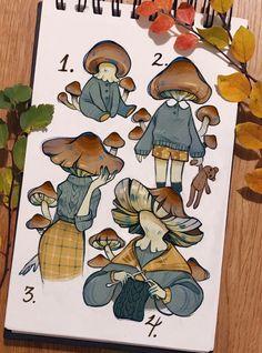 Cool Art Drawings, Art Drawings Sketches, Pretty Art, Cute Art, Arte Indie, Mushroom Art, Arte Sketchbook, Cartoon Art Styles, Art Inspo