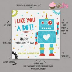 de55e2ff1fa INSTANT DOWNLOAD - EDITABLE Valentine s day Card Robot Valentines Day card  for kids Valentine s scho Valentines. Etsy
