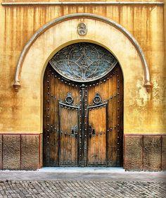 Hermosa puerta de  madera