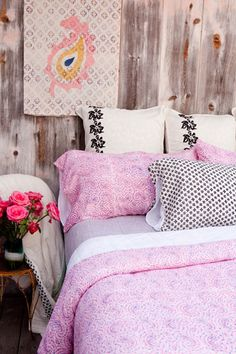 Kerry Cassill - Luxury Indian printed Bedding and Apparel — Pink Paisley Duvet
