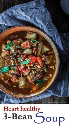 Three Bean Soup with Tomato Pesto. Out-of-this-world delicious Mediterranean soup!