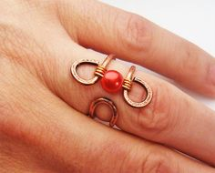 Wire Wrapped Adjustable Hammered Copper Ring wire by GearsFactory