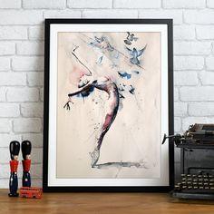 Ballerine aquarelle impression d'art. Art mural par TatyanaIlieva
