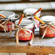 The Party Favors - Send dinner guests home with seasonal treats. Here, Sam tied inexpensive butter knives to jars of apple butter ($14.50; blackberryfarm.com).