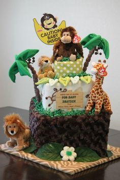 Jungle themed Baby Diaper Cake