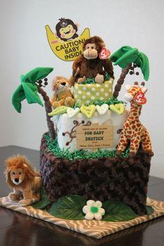 Jungle themed Baby Diaper Cake