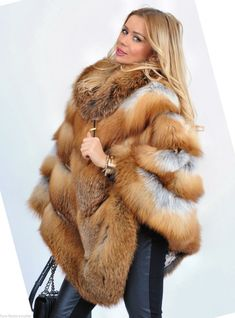 fox furs - long gold royal saga fox fur poncho