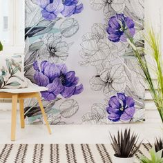 Purple floral curtains from Vallila. www.kenisahome.com