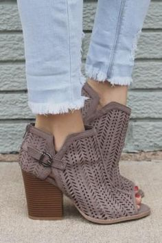 """PERFORATED BLOCK HEEL BOOTIES WITH FIXED SIDE BUCKLE DETAIL, BACK ZIPPERS-TAUPE Approximate Heel Height: 3.25"""""""
