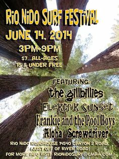 Surfin' Music 3-9 p.m. Four bands, swimming, lots of summer fun!