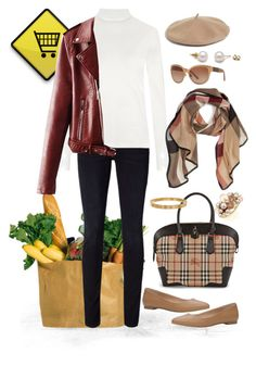 Grocery day #OOTD by maripilibarreda on Polyvore featuring moda, Gloria Coelho, Frame Denim, Burberry, Cartier, Mimà and Halogen