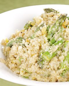 Quinoa with Lemon and Asparagus.  We eat Quinoa every week.  A huge staple in our house.  VERY nutritious and versatile and super healthy!