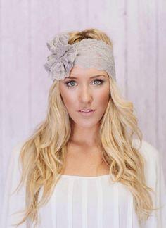 Gray lace wide headband