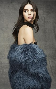 See All The Looks From Kendall and Kylie Jenner's Topshop Holiday Collection | Shaggy blue faux fur coat | @StyleCaster