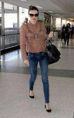 Miranda Kerr in Equipment shirt