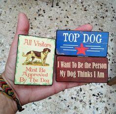 Dog Lovers Fridge Magnets set of 3, magnet, kitchen magnet, handmade, wooden magnet, vintage, design, gift, dogs, quotes, funny Handmade Wooden, Handmade Gifts, Dog Lovers, Magnets, Funny, Dogs, Kitchen, Quotes, Etsy