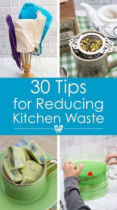 """So many great tips, and less intimidating than going fully """"zero waste"""". ( This list of 30 tips for reducing kitchen waste is full of ideas to help build money-saving, eco-friendly habits for an environmentally conscious lifestyle. Zero Waste, Reduce Waste, Kitchen Waste, Green Living Tips, Eco Friendly House, Food Waste, Sustainable Living, Saving Money, Saving Tips"""