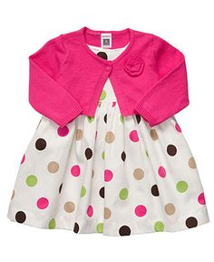 Carter's Baby Set, Baby Girls Large Polka-Dot Dress and Cardigan - Kids Shop All Baby - Macy's