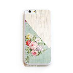 iPhone 6 Case. iPhone 6S Case. Wood Grain Floral Mint Color Block. Phone Case. iPhone Case.