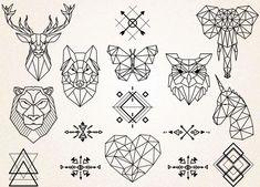 Geometric Tattoos Clipart/Geometric Animals Clipart/Animals Drawing/Tribal Symbols/Geometric Tattoo SVG,PNG - Kunst - Tattoo World Geometric Tattoo Design, Geometric Drawing, Geometric Tattoos, Geometric Art, Geometric Animal, Geometric Sleeve, Tattoo Drawings, Art Drawings, Drawing Drawing