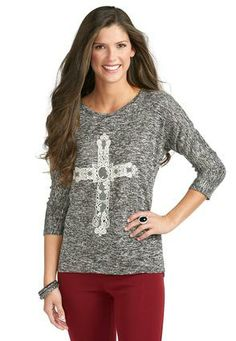Cato Fashions High Low Lace Cross Top #CatoFashions