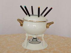 Fondue Set White Porcelain Enamel-Ware Golden Metal Handles Trim, 6 Color Coded Forks ~ Retro Formal Regal Elegance Vintage Classic