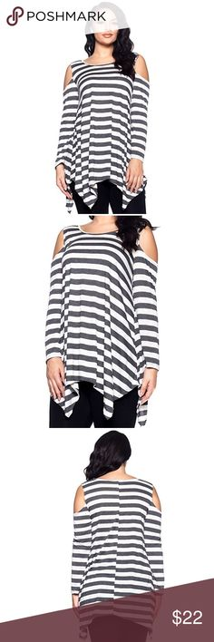 Charcoal/White Striped Shark Bite Top Wear as short dress or long top (depending on height). Great staple piece to have in your wardrobe. Works well for casual settings or formal events. Grab this trend before it's too late! Tops