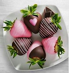 Pink chocolate strawberries