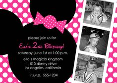Hot Pink Minnie Mouse Custom Photo Birthday Party Invitations - Any Color - You Print. Minnie Mouse Birthday Theme, Adult Birthday Party, Minnie Mouse Party, Pink Minnie, Surprise Party Invitations, Minnie Mouse Birthday Invitations, Invitation Ideas, Invites, Mickey Mouse Crafts