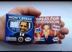 Mitt Romney + Barack Obama Condoms. Available in our Pacific Beach store!