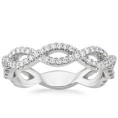 18K White Gold Eternal Twist Diamond Ring, top view