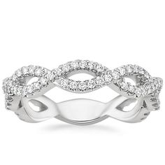 18K White Gold Eternal Twist Diamond Ring, top view