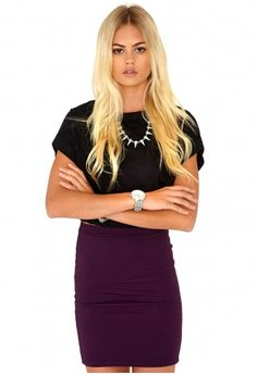 Missguided - Adula Ribbed Bodycon Skirt In Purple