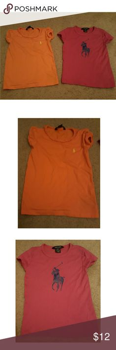 Ralph lauren tops 2 tshirts. Orange and pink. Used but in good condition. Size 4t Ralph Lauren Shirts & Tops