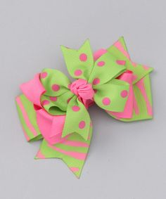Take a look at this Lime & Pink Zebra Triple Layer Bow Clip by Monkey Loves Bownanas on #zulily today!