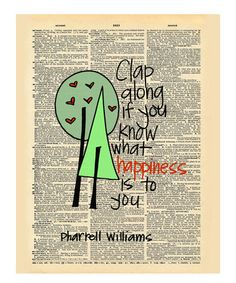 'Clap Along' Dictionary Print by Doodli-Do's #zulily #zulilyfinds  Pharell #happy