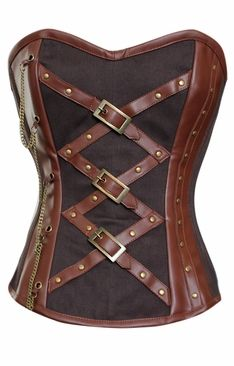 612 Brown Leather steam overbust corset.
