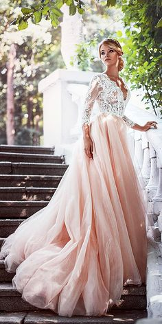 pink wedding dresses a line with long sleeves lace top tylle skirt anna skoblikova