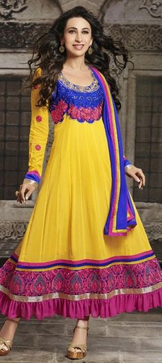 435567 Yellow  color family Anarkali Suits, Bollywood Salwar Kameez in Faux Georgette fabric with Lace, Machine Embroidery, Resham, Thread work .