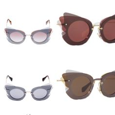 THE COLLECTION MIU MIU Women's sunglasses with butterfly silhouette created by creatively juxtaposing colored acetate elements. Light gold metal bridge and temples. Engraved Miu Miu lettering logo.