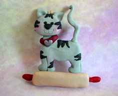 Gray Tiger Kitty Cat Rolling Pin Cookie Baker Polymer Clay Milestone Christmas Ornament Cake Topper Pet Sitter Pastry Chef Bakery Pie 1st by alongcameaspider1 on Etsy