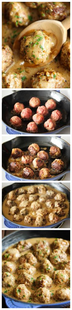 Swedish Meatballs - Nothing beats homemade meatballs smothered in a creamy gravy sauce, and they taste much better than the IKEA version!  @Trent Johnson Butts-Ah Rhee