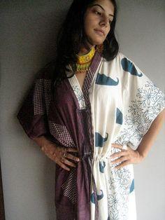 Lovely paisleys  Mauve Kaftan Robe  Perfect as a by silkandmore