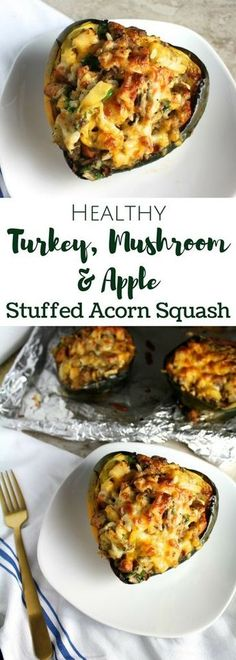 Turkey Mushroom Apple Stuffed Acorn Squash Looking for a simple, nutritious dinner? This Turkey, Mushroom & Apple Stuffed Acorn Squash is perfect for a quick healthy meal and filled with warm winter flavors. Quick Healthy Meals, Healthy Recipes, Healthy Eating, Cooking Recipes, Cheap Recipes, Simple Healthy Dinner Recipes, Autumn Recipes Dinner, Paleo Apple Recipes, Apple Recipes Dinner