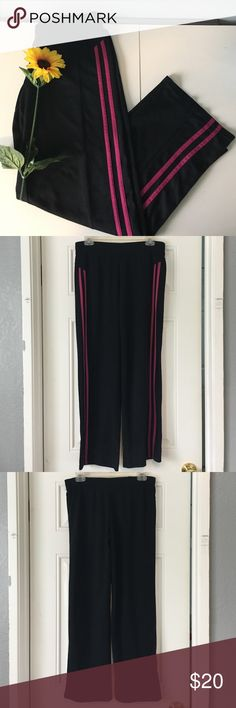 💃🏾SALE💃🏾Black and Pink Athletic Sweatpants These black and pink athletic sweatpants are perfect for the gym or for lounging around the house. They come in a size small and are made of 100% polyester. They are 38 inches in length and 15 inches in width, however it has a drawstring on the inside and so it can adjust the width. These pants are still in good condition. Let me know if you're interested! Champion Pants Track Pants & Joggers