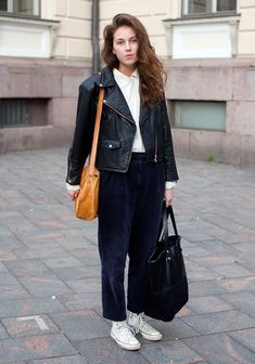 """""""I like clothes that first look weird and even ugly like these corduroy pants, glitter knits, shoulder paddings and Pierre Cavallo knitwear. I don't want to copy anyone, but find things myself."""""""