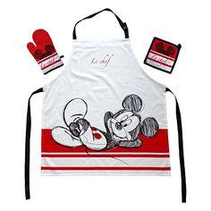 Das Geschenk für den Walt Disney Mickey Mouse Fan: Kochschürzenset mit Micky Maus Micki Schürze 100% Baumwolle Walt Disney Mickey Mouse, Minnie Mouse, Disney Micky Maus, Mickey Mouse Kitchen Set, Oven Glove, Apron, Barbie, Mini, Cotton
