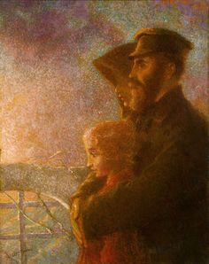 """Lucien Lévy-Dhurmer<br>1865-1953 French<br><br><em>Les Émigrés Russes (The Russian Emigrants)</em><br><br>Signed """"L Levy Dhurmer"""" (lower left)<br>Oil on canvas<br><br>A family of Russian Jewish emigrants contemplate their future in this emotive oil painting by French Symbolist and Art Nouveau artist Lucien Lévy-Dhurmer. As a Symbolist, the artist infused his works with poignant imagery without the use of traditional allegories. This indirect expression of emotion often provided the vehicle…"""